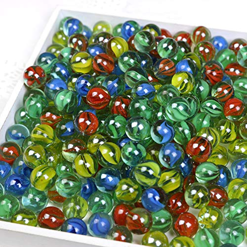 """CHU KE Marbles Cats Eyes Glass Marble / Sling Shot Ammo 500 pcs. Size is Approximately 5/8""""。1 inch Green Shooter 10 pcs"""