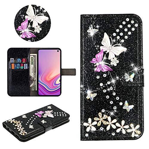 SEEYA Hülle Glitzer für Samsung Galaxy S20 FE, PU Leder Handyhülle Schwarz Glänzend Schmetterling Blumen Klapphülle Magnet Brieftasche Schutzhülle Flip Cover Tasche für Samsung Galaxy S20 Lite