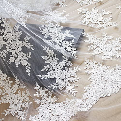 51 Luxury inches Off White Floral Embroidery Fabric Be super welcome Lace with Sequ Mesh