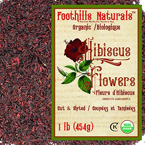 Foothills Naturals Hibiscus Tea Flowers Organic - 1 Pound (454g) Cut & Sifted. Premium Quality, Over 200 Servings