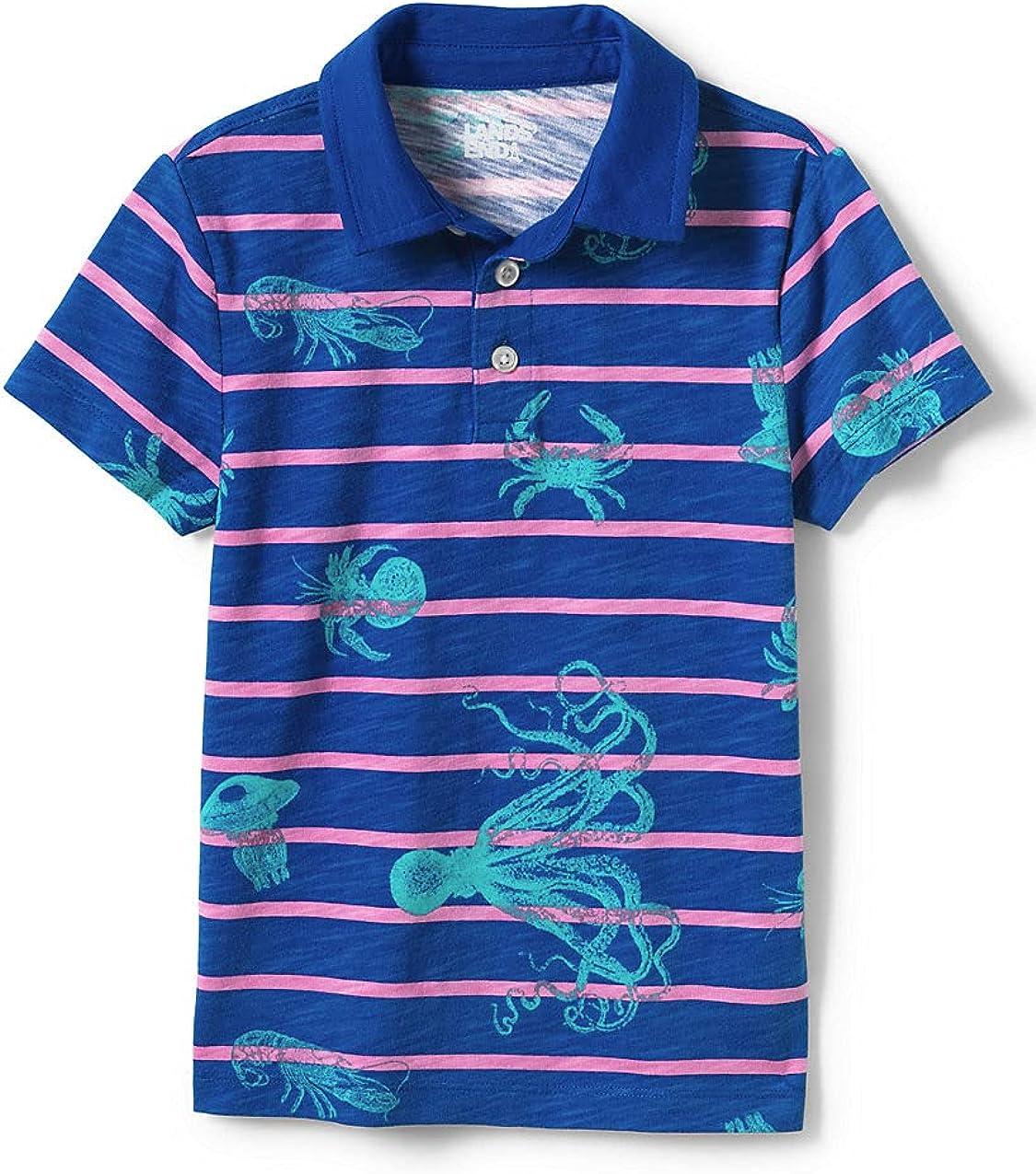 Lands' End Boys Short Sleeve Colorblock Pocket Slub Polo