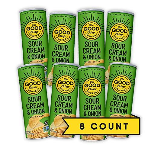 The Good Crisp Company, Sour Cream and Onion, Gluten Free Potato Chips (5.6oz, Pack of 8), Non-GMO, Allergen Friendly, Stacked Potato Chips, Gluten Free Snacks