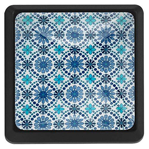 EZIOLY Türkise Blumenknöpfe, quadratisch, für Küchenschränke, Schränke, Kommode, Schrankknöpfe, Schubladengriffe, Hardware, 3 Stück