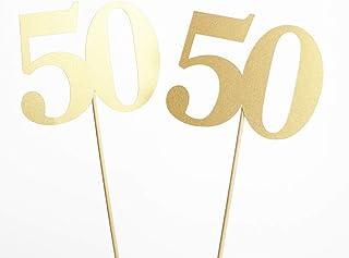 50th Birthday Decoration - Gold Glitter Number on Stick Centerpiece - 6 Pieces
