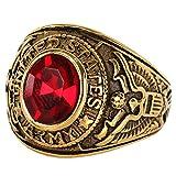 「silverKYASYA」ステンレス素材 カレッジリング ゴールド 大粒 ストーン 4type カレッジ指輪 USエアフォース ステンレスリング ゴールド 存在感抜群! (レッド(red), 16)