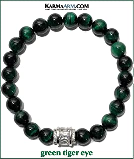 Meditation Bracelet   Maverick   Mantra Wellness Wristband   Reiki Healing Energy Bead Zen Self-Care Yoga Jewelry   Green Tiger Eye