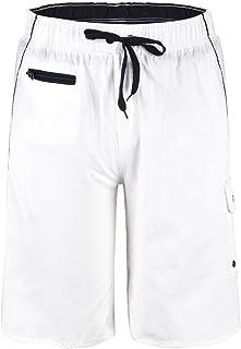 Nonwe Men's Surf Swim Trunks Zipper Summer Quick Dry White 36