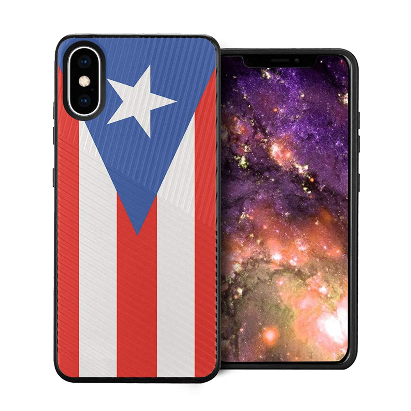 Capsule Case Compatible with iPhone Xs Max [Embossed Diagonal Lines Hybrid Dual Layer Slim Armor Black Case] for iPhone Xs Max - (Puerto Rica Flag)