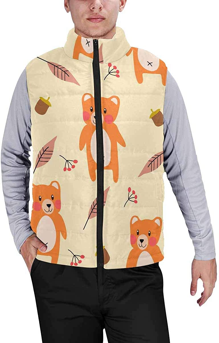InterestPrint Men's Casual Sleeveless Coats with Personality Design Cute Sloth Eating Watermelon