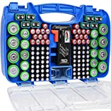 The Battery Organizer Storage Case with Hinged Clear Cover, Includes a Removable Battery Tester, Holds 180 Batteries Various Sizes Blue…, Model Number: TBO2705