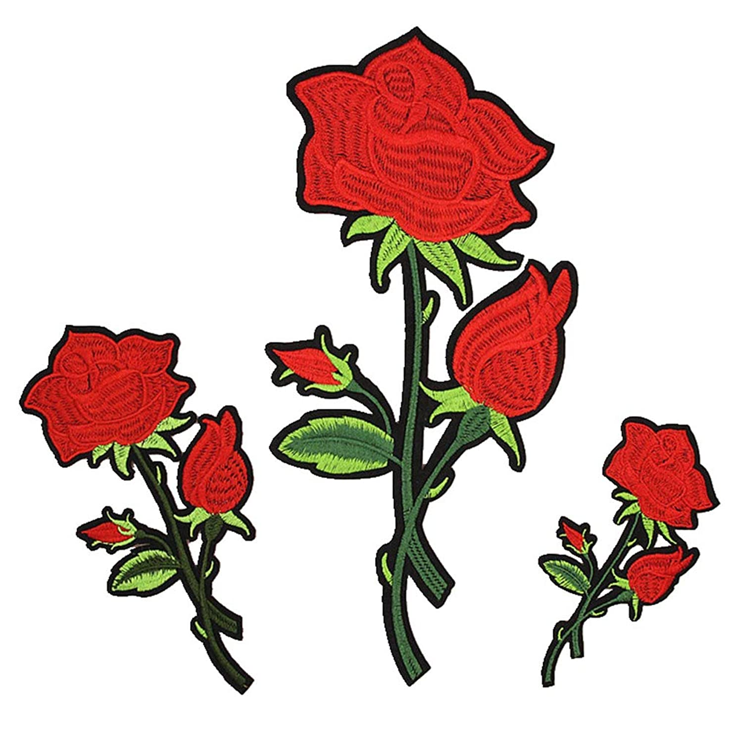 Embroidery Rose Flower Lace Fabric Applique Iron on Patches Embroidered Patch DIY for Clothings,Jeans,Dress,Bag,Curtain (Set of 3)