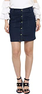 StyleStone Women's Denim Skirt with Front Buttons (Blue, XL)