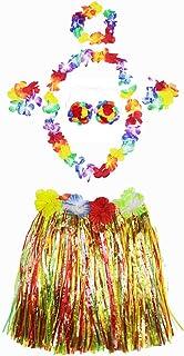 Ecloud Shop® Halloween Masquerade Hawaiano Hula Hierba Falda de la Danza USA Conjunto de Ropa
