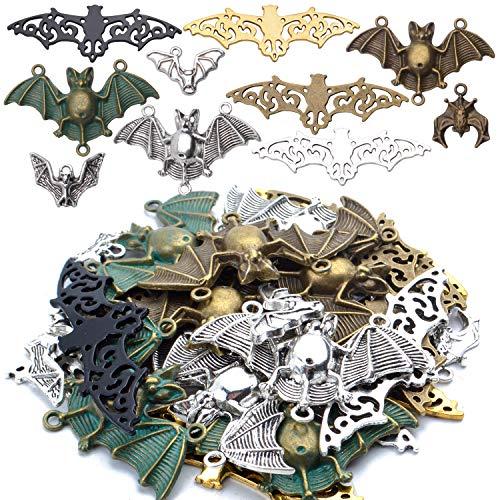 Aylifu Fledermaus Charm Anhänger, 100g (Ca. 30 STK) Vampir Halloween Basteln Charm Fledermaus Schmuckanhänger Metallanhänger für DIY Armband Halskette - sortierte Farbe