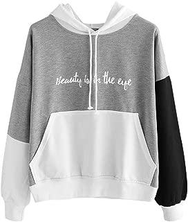 TOPBIGGER Women's Color Block Long Sleeve Pullover Hoodie Casual Printed Sweatshirt Crop Top