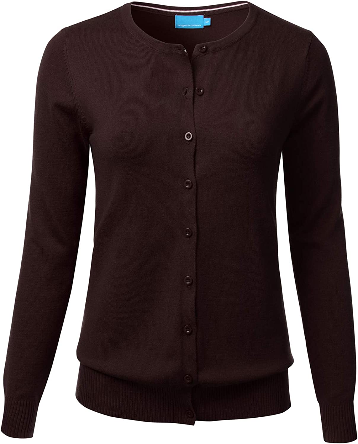 FLORIA Women's Button Down Crew Neck Long Sleeve Soft Knit Cardigan Sweater Brown M