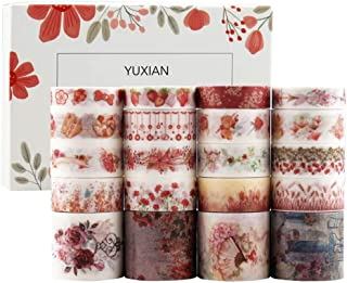 Doraking 20Rolls Decorative Washi Masking Red Theme Tapes Set for Scrapbooking Gift Wrapping Decoration Arts & Crafts, Dor...