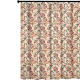 YUAZHOQI - Cortina de ducha impresa, tulipanes ornamentales con composición de estilo de contorno, flores de primavera, decoración de baño impermeable con 12 ganchos, 182,88 x 182,88 cm, color...