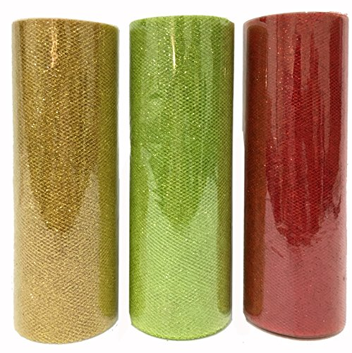 Charmed Christmas Glitter Tulle in Apple Green, red and Gold 6 inch by 10 Yards (30 Yards Total)