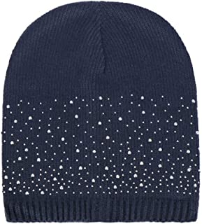 URIBAKE Fashion Women's Baggy Beanie Sequins Stretch Knitted Wool Winter Warm Crochet Hat Cap