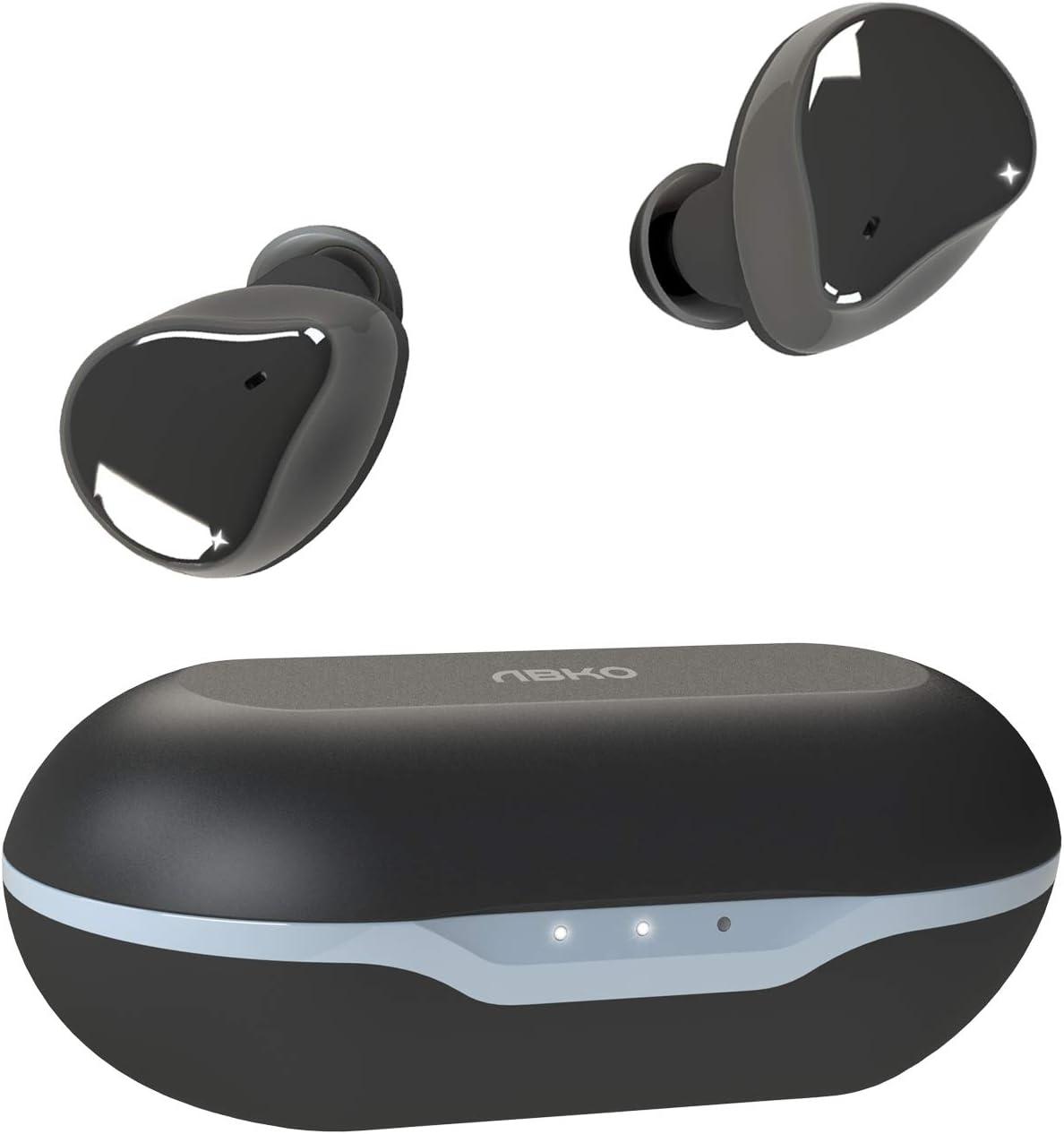 ABKO True Wireless Earbuds Graphene Dynamic Driver AptX Bluetooth in-Ear Headphones Wireless Charging Case Unique Design USB-C IPX5 Waterproof EF02 Black