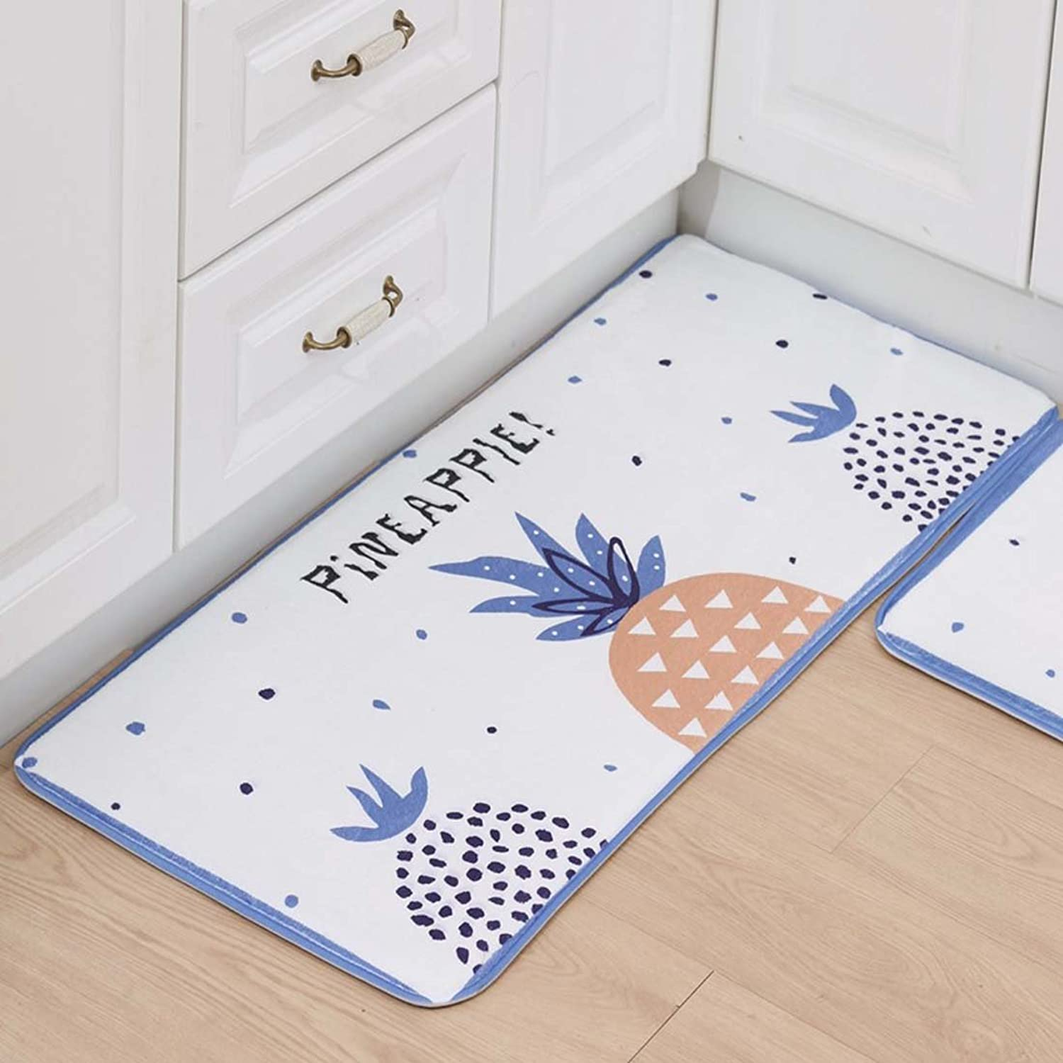 Indoor Outdoor 3PCS Doormat Entrance Welcome Mat Absorbent Runner Inserts Non Slip Entry Rug Funny Small Pineapple Pattern, White Background, Home Decor Inside Floor Carpet 15 x23  19 x31  19 x47