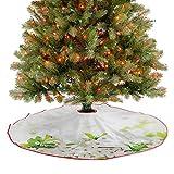Homesonne Faldones de árbol de Navidad, color blanco y verde, para granja, chimenea, fiesta, 48 pulgadas
