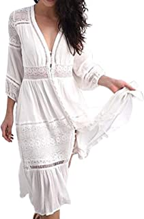 Women Lace Patchwork Embroidered Cover ups Sexy V Neck Cropped Sleeve Ruffles Party Beach Maxi Dress