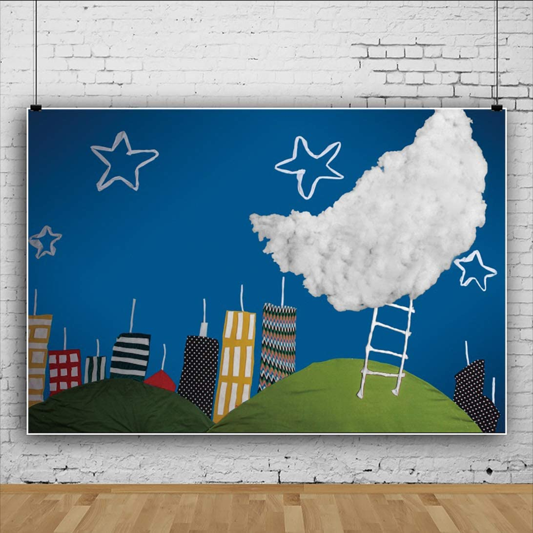 YongFoto 12x10ft Birthday Backdrop for Photography Cartoon Painting Stars Moon Stair Building Night Background Party Theme Banner Family Home Decor Vinyl Poster Portrait Photoshoot Studio