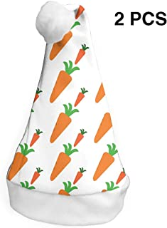 Santa Claus Hat Fresh Carrot Merry Christmas Hats Adults Children Costume Xmas Decor Party Supplies (2-Pack)