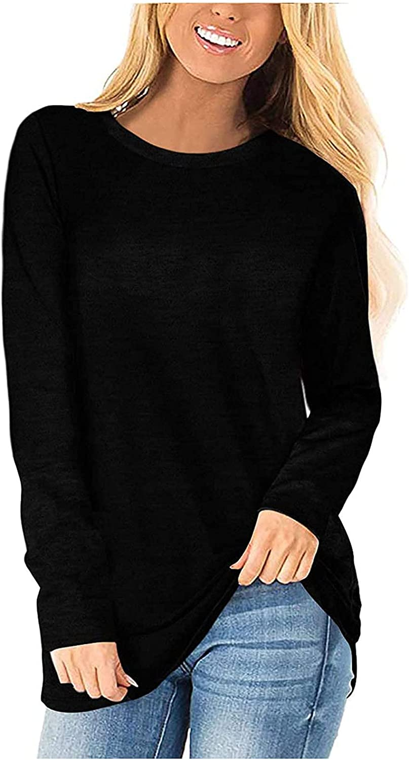 T-Shirt for Women, Womens Long Sleeve Solid Color Tee Shirts Tops Casual Loose Comfort O-Neck Tunics Blouse