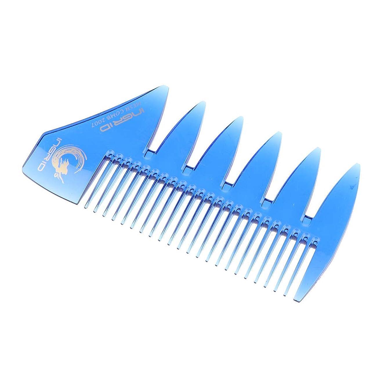 ポーンみ霊Sharplace ヘアビアードコーム デュアルアクション 細かい/粗い歯 櫛 ヘアブラシ ヘアスタイリング 4色選べ - 青