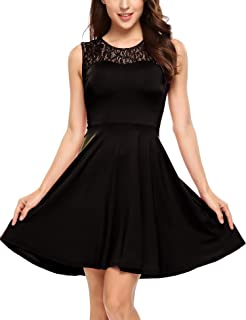 ANGVNS Women's Sleeveless Floral Lace Pleated Cocktail Party A-Line Skater Dress
