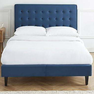 HOMIFAB Lit Adulte scandinave en Velours Bleu Canard, sommier à Lattes, 140x190 - Collection Marie - Elle DÉCORATION