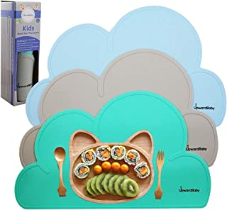 Suction Placemats for Kids Baby Toddlers - UpwardBaby Non Slip 3 Piece BPA Free Placemats Set - Wipes Clean for Quick Mealtimes for Travel and High Chairs - Easy to Clean