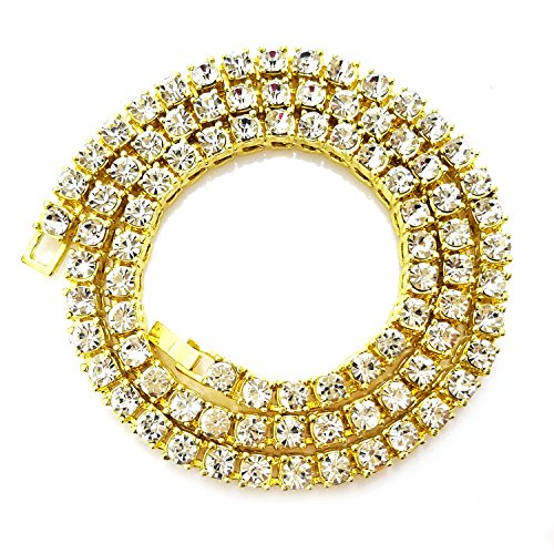 HH Bling Empire Iced Out Fake Diamond Tennis Chain for Men Women in Silver Gold Multicolored 5mm width 16 18 20 22 24 30 Inches (1 Row - Gold, 16)