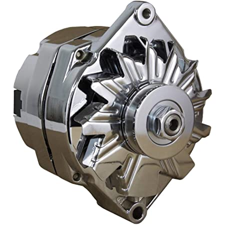 Rareelectrical 110A CHROME STREET ROD GM HIGH OUTPUT ALTERNATOR COMPATIBLE WITH 1-ONE WIRE SELF EXCITING ENERGIZING