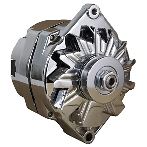 new chrome chevy alternator fits 110 amp 3-wire or 1-one wire setup
