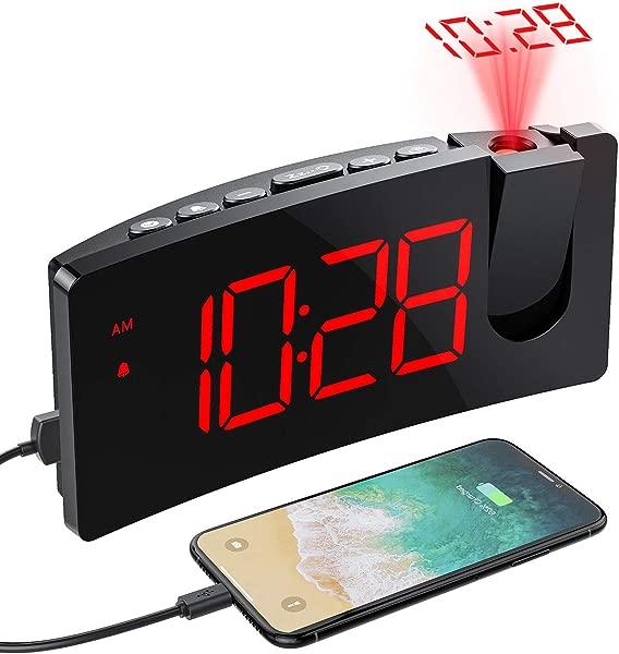 PICTEK Projection Alarm Clock 5 LED Curved Screen 3 Level Dimmer 12 24H Easy Operation USB Phone Charging Port Snooze 120 Rotatable Projector Digital Alarm Clock For Bedroom Kid Senior