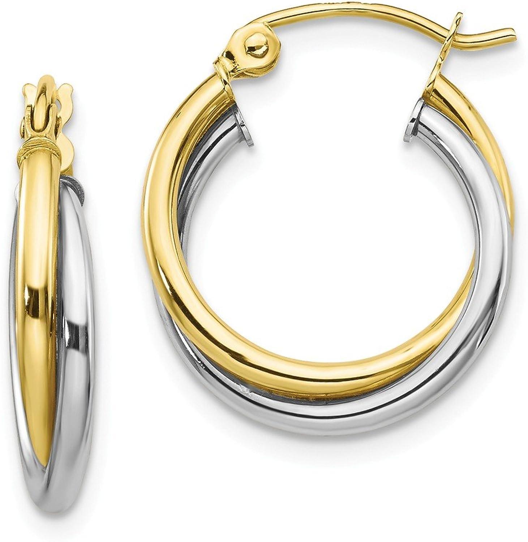 Beautiful White and yellow gold 10K Whiteandyellowgold 10K Twotone Twist Hoop Earring