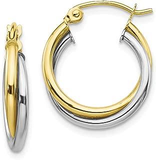10K Two Tone Color Gold Twist Hoop Earring