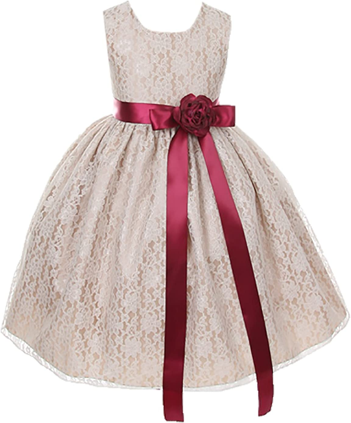 Cinderella Couture Girls Columbus Mall Elegant Champagne Girl Dres Lace Free shipping on posting reviews Flower