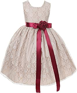 e6f879185a4 Cinderella Couture Girls Elegant Champagne Lace Flower Girl Dress   Sash