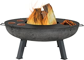Sunnydaze Large Outdoor Fire Pit Bowl with Cooking Ledge - Wood Burning Fireplace - 40 Inch - for Patio, Backyard, and Camping
