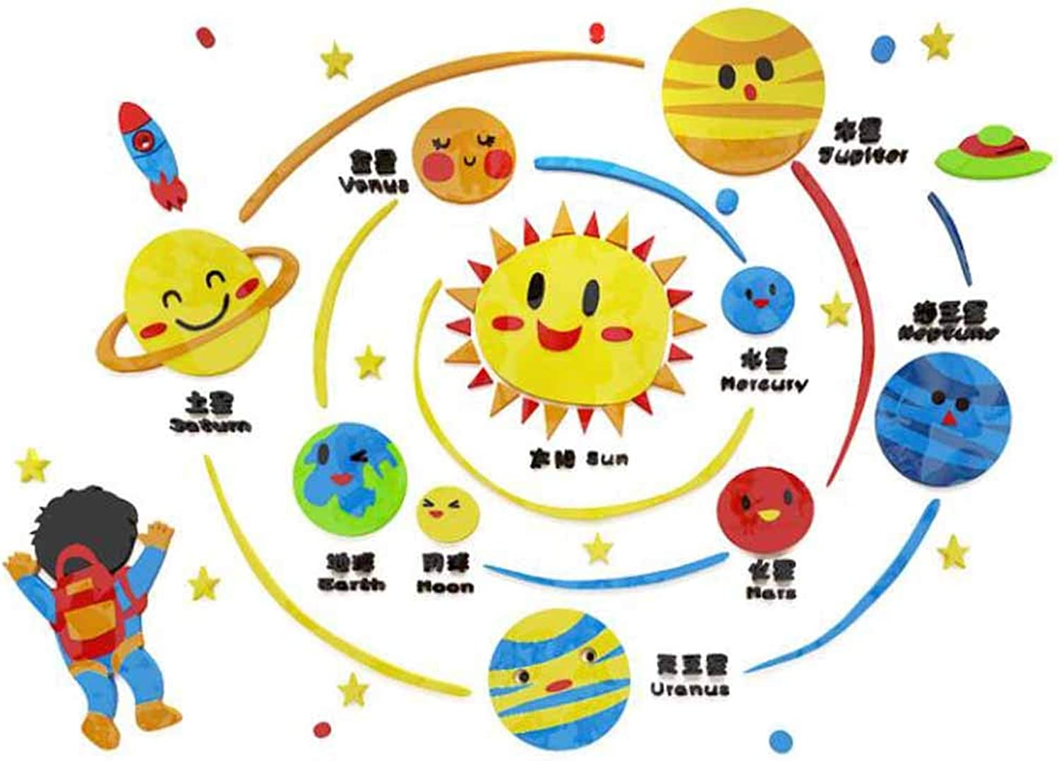 Acrylic Kids Wall Decal 3D Cartoon colorful Wall Stickers Solar System Kids Bedroom Decoration