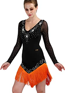 e5d6f29d323dd Jupe de Danse Latine à Manches Longues et col en V pour Femme Robes de  Compétition