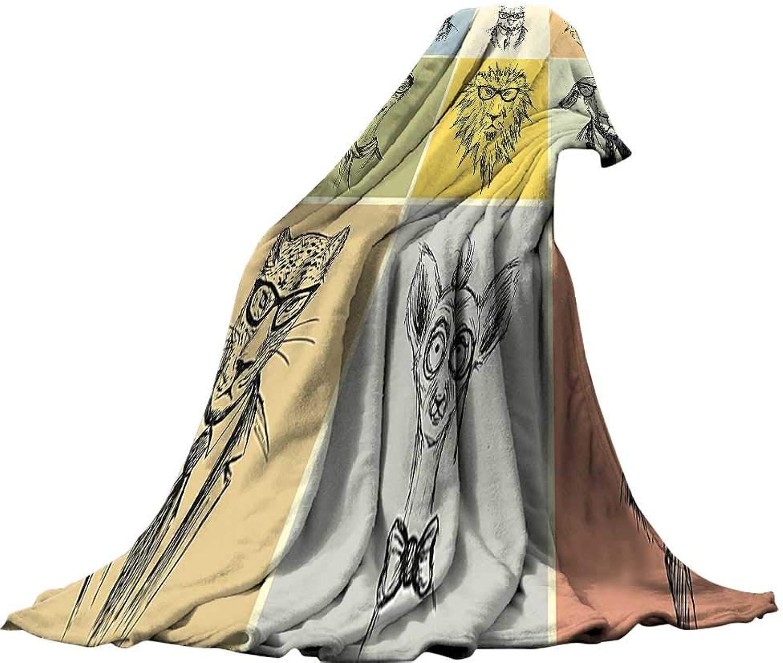 QINYAN-Home Super Soft Blanket (62 x60 ) Warm Microfiber All Season Blanket for Bed or Couch Modern Hipster Animals Monkey Camel Cat Lion Goat Tiger Business Man Glasses Illustration ES Multicolor.