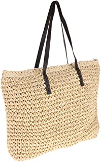 IPOTCH Natural Hand-Woven Handle Straw Tote Rattan Bag For Woman, Girls,Friends