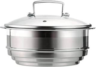 Le Creuset 3-Ply Accesorio de vapor multitamaño con tapa de vidrio, para ollas de Ø 16/18/20 cm, acero inoxidable, metálico