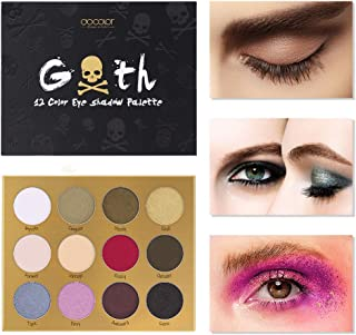 Docolor Eyeshadow Palette 12 Colors Matte Shimmer Goth Skull-Designed Professional Waterproof Makeup Eye Shadow